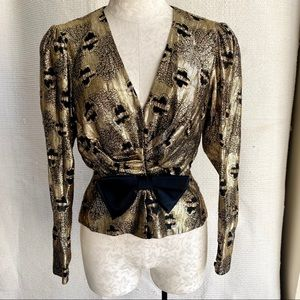 Vintage 60s 70s Metallic Disco Party Blouse Top